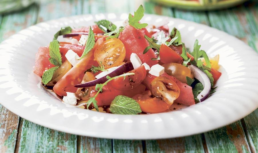 Recette : salade de tomates et de melon d'eau
